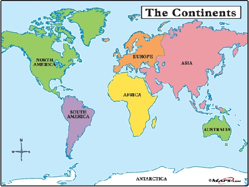 7 Continents Map  World Continents Map  Map of